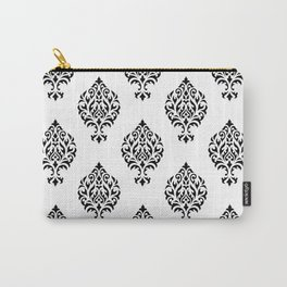 Orna Damask Pattern Black on White Carry-All Pouch