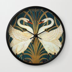 Walter Crane Swan, Rush And Iris Wall Clock