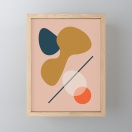 Abstract # 5 Beige Blue Orange Framed Mini Art Print