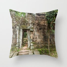 Angkor Thom Palace Wall, Siem Reap, Cambodia Throw Pillow