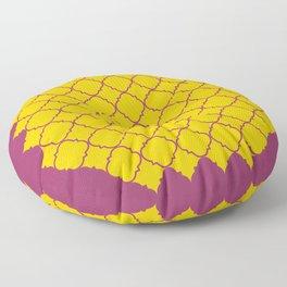 Barbed Quatrefoil Yellow and deep purple Pattern Floor Pillow