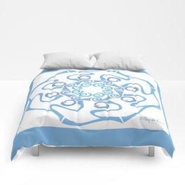 Hope Flower Mandala - Blue Framed Comforters