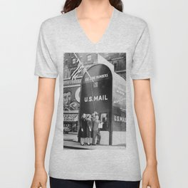 Times Square Post Office Giant Mailbox Stamp-selling Booth black and white photography Unisex V-Neck