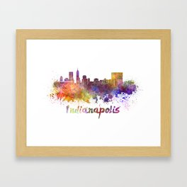 Indianapolis skyline in watercolor Framed Art Print