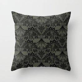 Stegosaurus Lace - Black / Grey - Throw Pillow