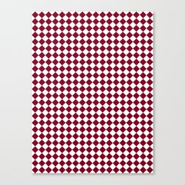 Small Diamonds - White and Burgundy Red Canvas Print