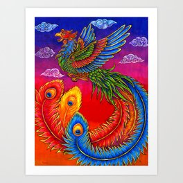 Colorful Fenghuang Chinese Phoenix Rainbow Bird Art Print