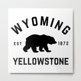 Wyoming Yellowstone National Park Grizzly Bear Vintage Travel Sign Metal Print