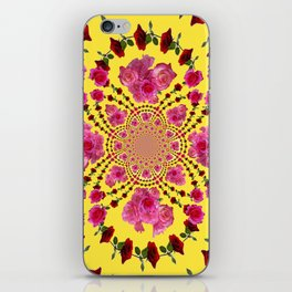 PINK-RED ROSES ON YELLOW-PINK ART iPhone Skin