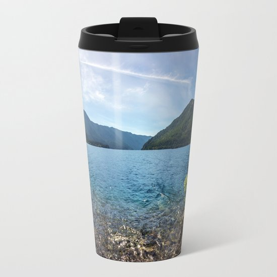 Lake Crescent Olympic Mountain Pano Metal Travel Mug