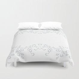 Floral White Grayish Blue Duvet Cover