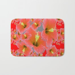 RED MODERN ART CORAL PINK HIBISCUS GARDEN ART Bath Mat