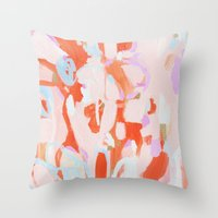 tooth Throw Pillows featuring Sweet Tooth by Emily Rickard