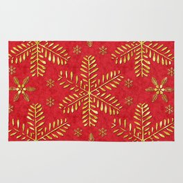 DP044-2 Gold snowflakes on red Rug