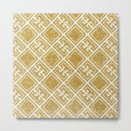 Gold Glitter Greek Pattern Metal Print