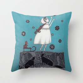 Between the Woods and Frozen Lake Throw Pillow
