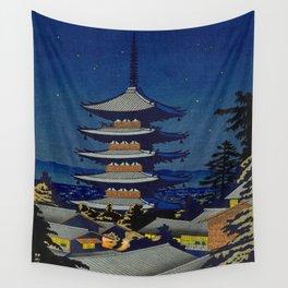 Asano Takeji Moon Light In Yasaka Pagoda Vintage Japanese Woodblock Print Night Star Sky Wall Tapestry