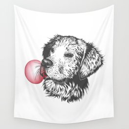 Bubble Gum Dog Wall Tapestry