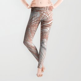Tropical modern faux rose gold palm tree leaf white marble pattern Leggings