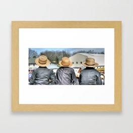 Three Straw Hats Framed Art Print
