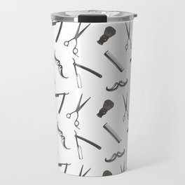 Barbershop pattern shaving razor, brushes and scissors on white Travel Mug