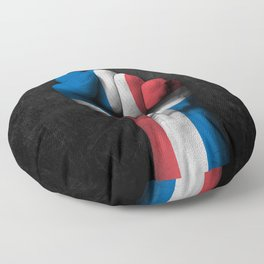 Dominican Flag on a Raised Clenched Fist Floor Pillow