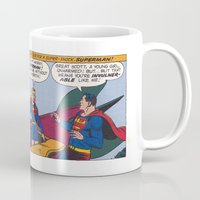 supergirl Mugs featuring Supergirl first appearance by DESTINESIA