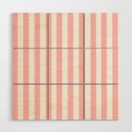 Cabana Stripes in Peachy Pink Wood Wall Art