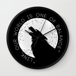 Twilight Wolf - White Wall Clock