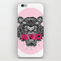 kenzo iPhone & iPod Skins featuring KENZO Tiger, pink letters by cvrcak