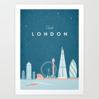 travel poster Art Prints featuring Vintage London Travel Poster by Travel Poster Co.