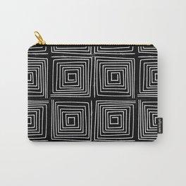 Minimal linocut printmaking geometric square maze pattern scandinavian minimalist Carry-All Pouch