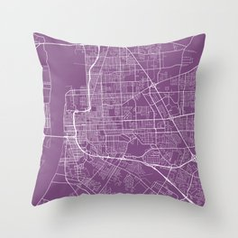 Baton Rouge Map, USA - Purple Throw Pillow