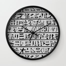 Egyptian Hieroglyphics // Silver Grey Wall Clock
