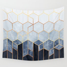 Soft Blue Hexagons Wall Tapestry