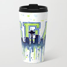 Seattle 12th Man Art Watercolor Space Needle Painting Metal Travel Mug
