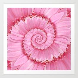 Pink Gerbera Spiral Flower Droste Effect  Art Print
