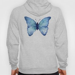 Blue Butterfly Watercolor Hoody