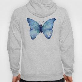 Blue Butterfly Watercolor Hoody