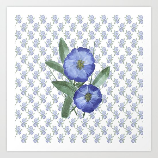 Another Violet Flowers Pattern Art Print