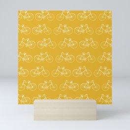 Saffron-Yellow Vintage Bicycle Pattern Mini Art Print