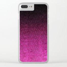 Pink & Black Glitter Gradient Clear iPhone Case
