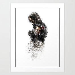 Winter Soldier Sebastian Stan Digital Fan Art Ink-Blot Art Print