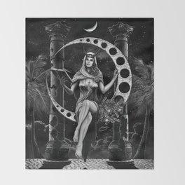 II. The High Priestess Tarot Card Illustration Throw Blanket