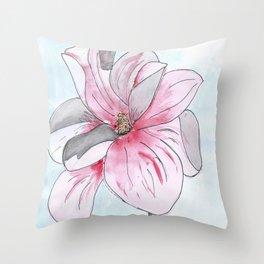 Magnolia Flower watercolor Throw Pillow