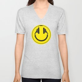 Headphones smiley wire plug Unisex V-Neck