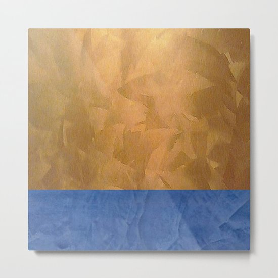 Copper Metallic With Tuscan Blue Stripe Trim Metal Print