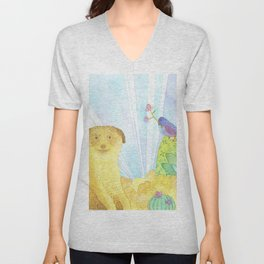 Meerkat in the Desert Unisex V-Neck