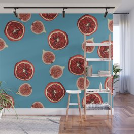 Pomegranate - Figs Pattern turquoise Wall Mural
