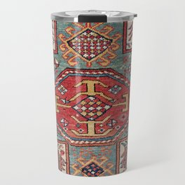 Orduch Medallion // 19th Century Colorful Bright Baby Blue Diamond Blossom Ornate Accent Pattern Travel Mug